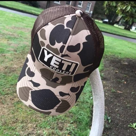2432ac8d9e5ab Brown camo Yeti patch Trucker snap back cap hat